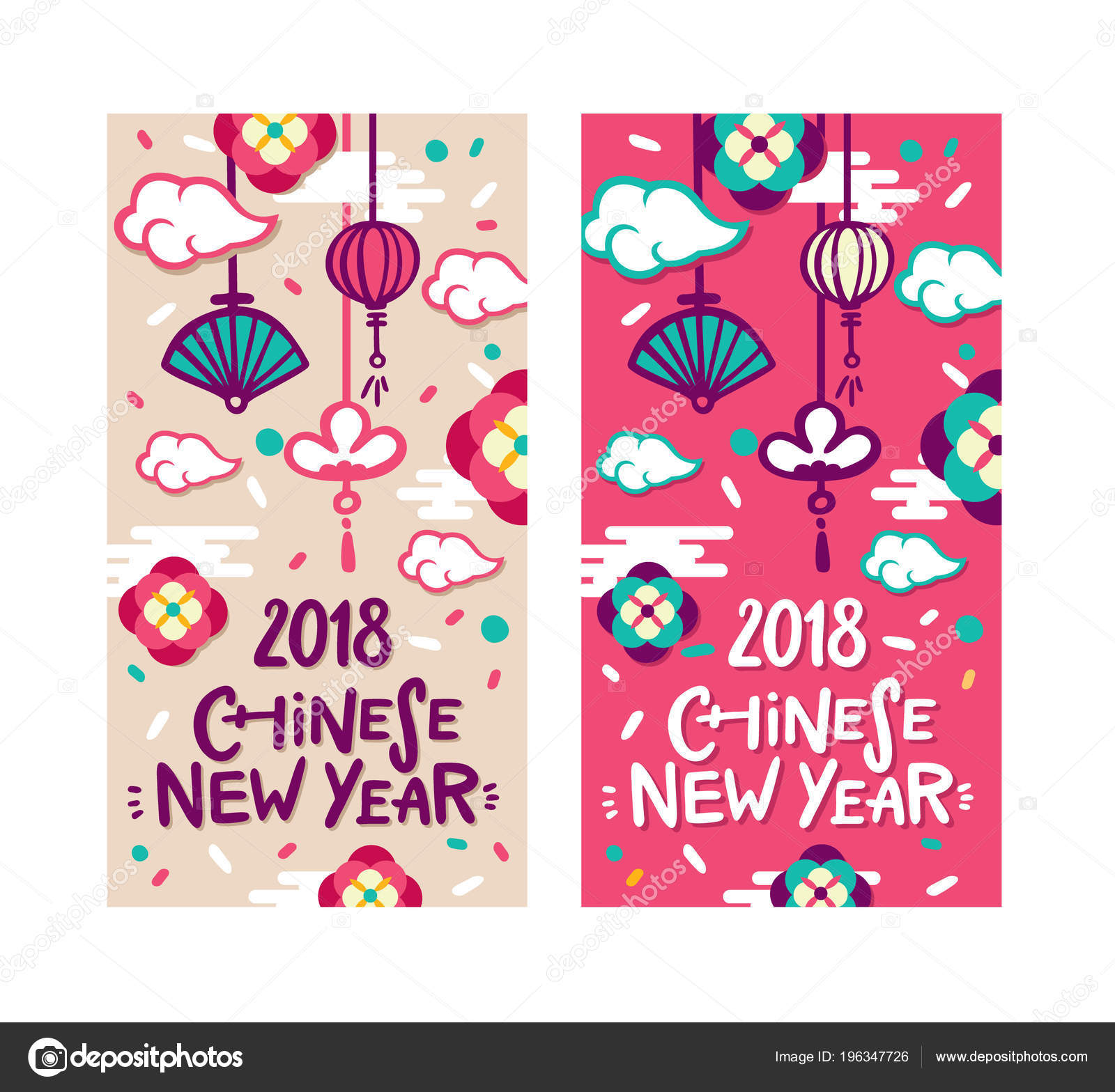 2018 chinese new year greeting card two sides poster flyer stock vector
