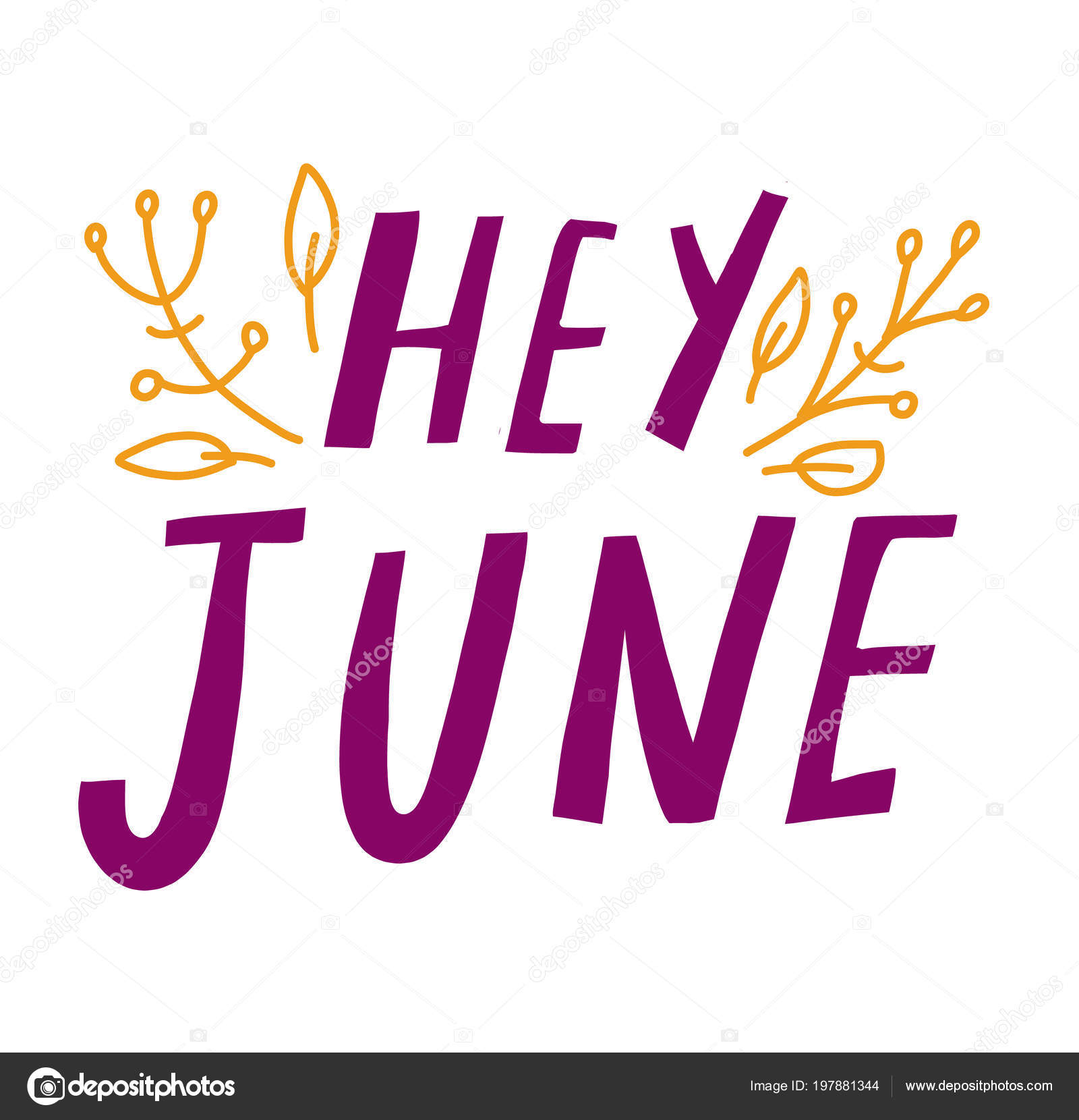 Summer Greeting Card Phrase Hey June Vector Isolated Illustration