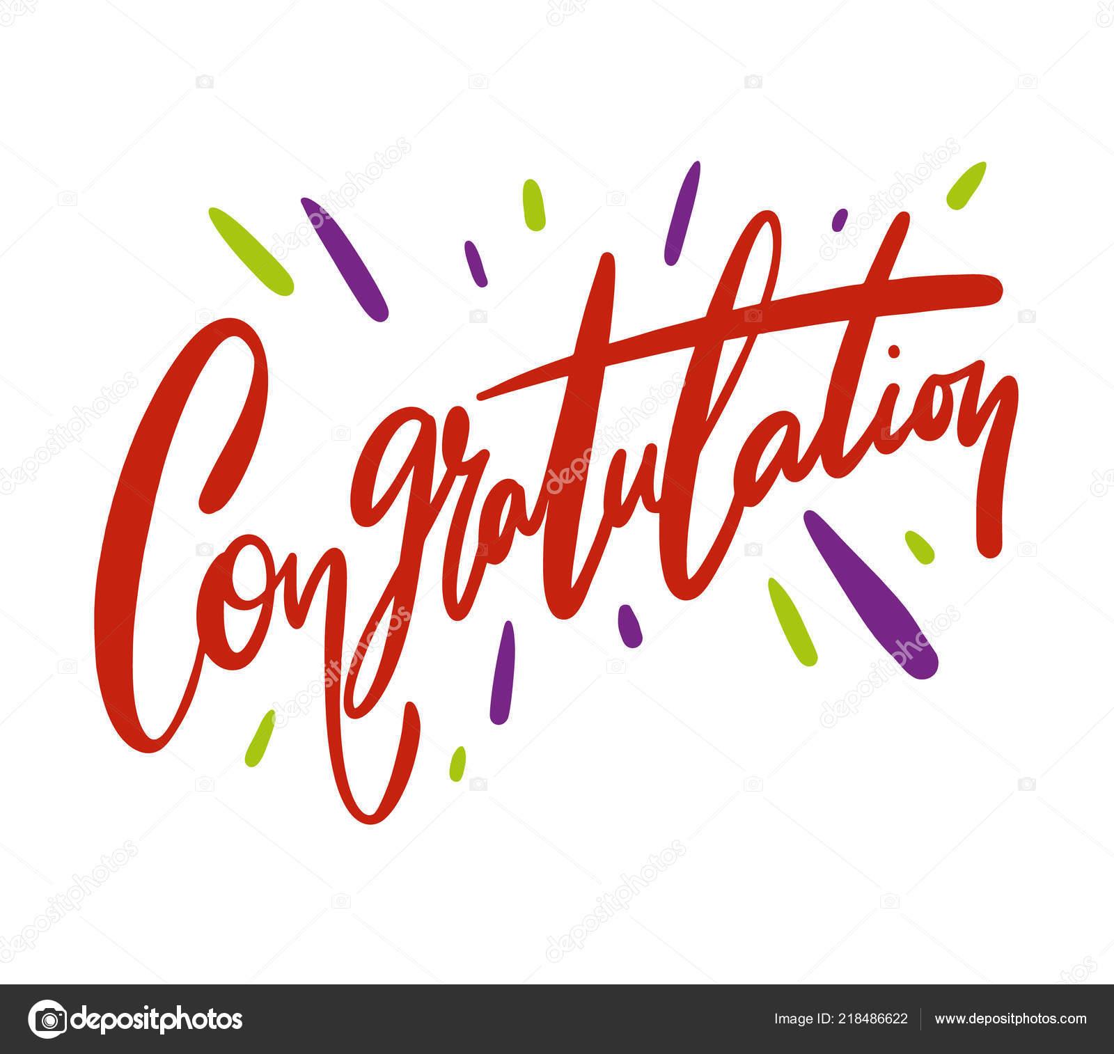 Mano Felicitación Escrita Letras Para Tarjeta Felicitaciones