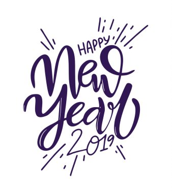 Happy New 2019 Year. Holiday Vector Illustration with Lettering Composition. Isolated on white background.