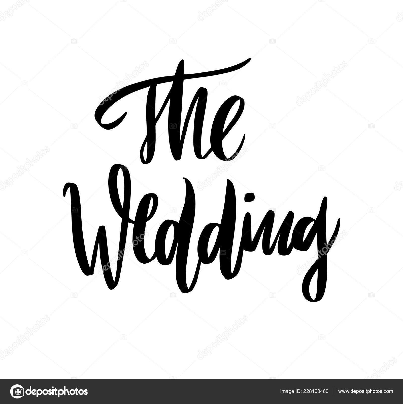 Vetor Caligrafia Letras Frases Casamento Isolado Fundo