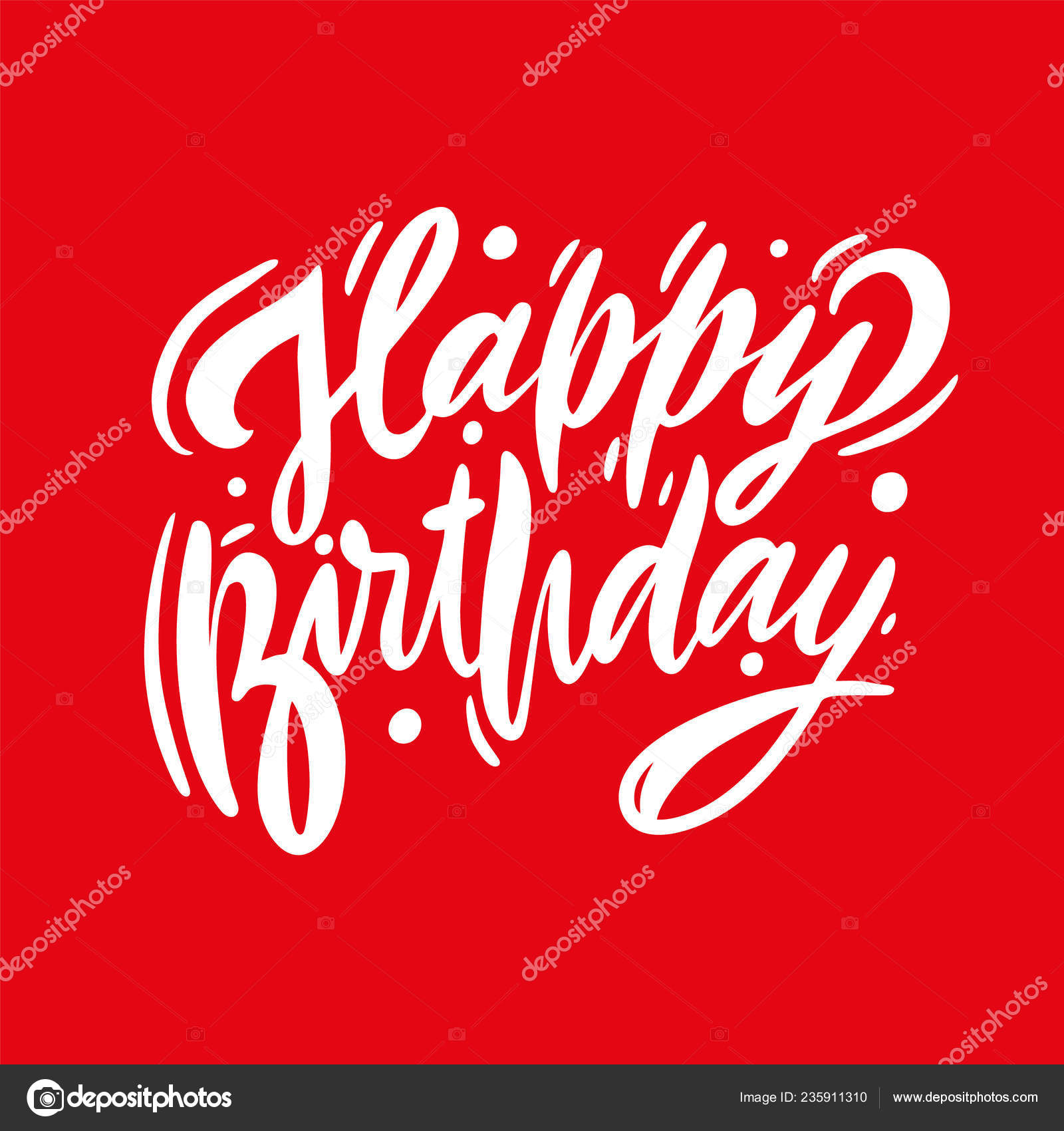 Happy Birthday Vector Lettering Modern Brush Calligraphy Isolated Red Background Stock Vector C Octyarb 235911310