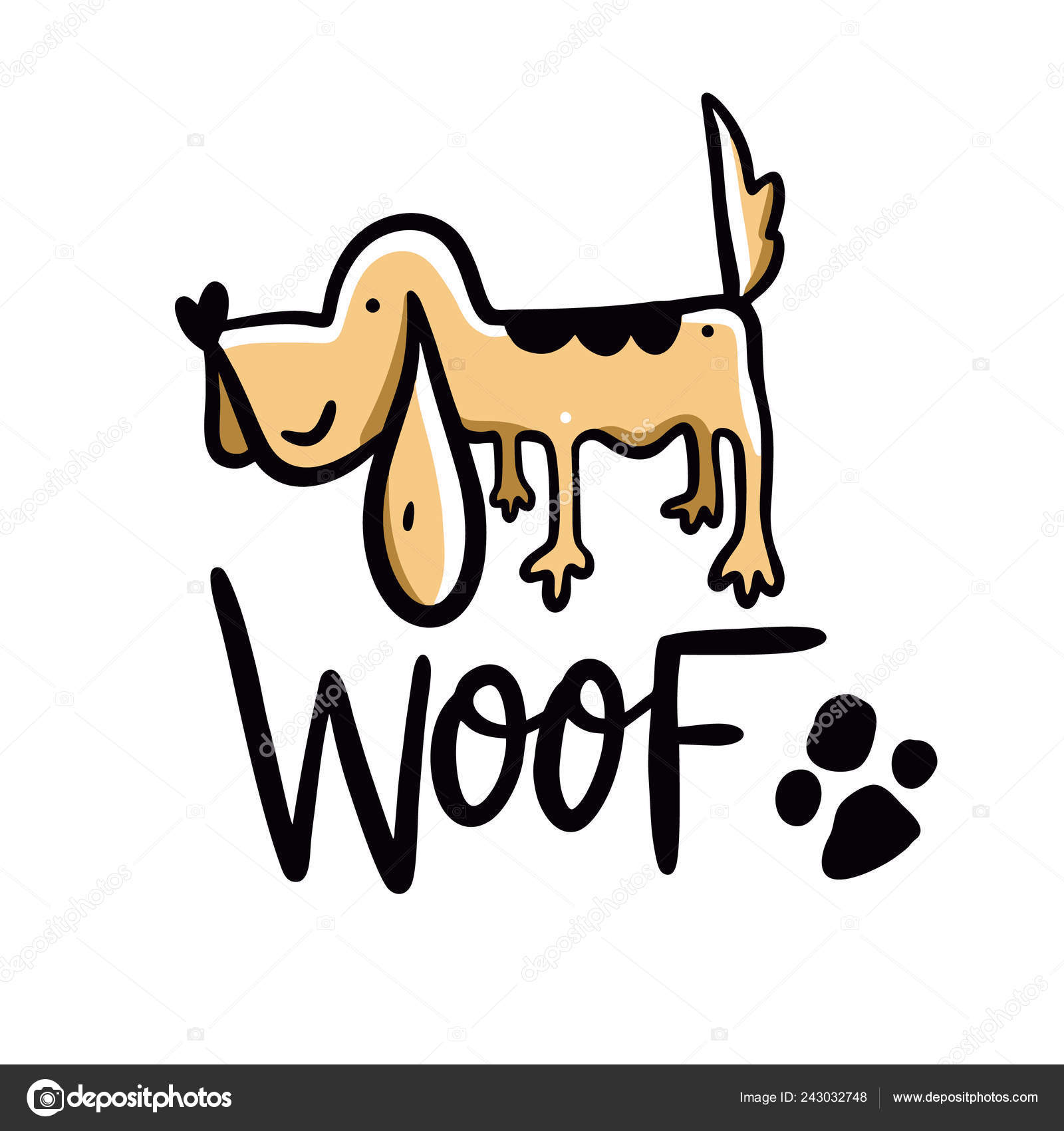 Perro Ilustración Vector Dibujado Mano Tejido Frase Letras