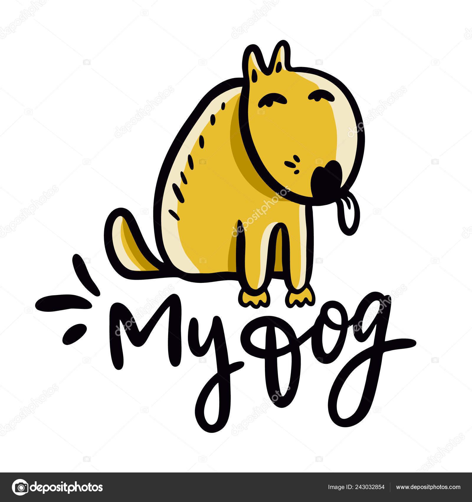 Perro Ilustración Vector Dibujado Mano Perro Frase Letras