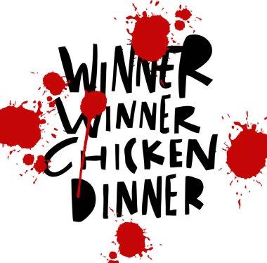 Winner Winner Chicken Dinner hand drawn vector illustration.