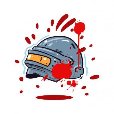 Helmet with PUBG game hand drawn vector illustration. Cartoon style.