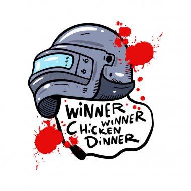 Helmet with PUBG game hand drawn vector illustration. Winner Winner Chicken Dinner lettering.