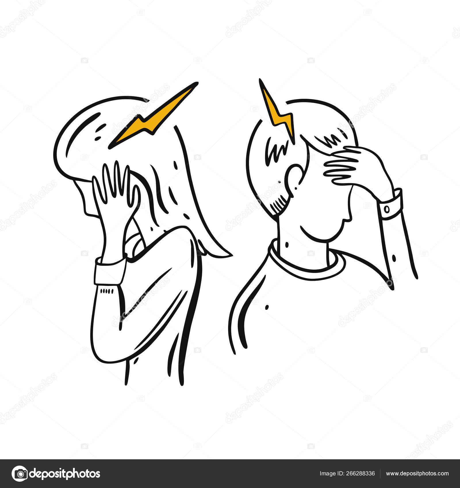 Headache Migraine Hand Drawn Vector Illustration Cartoon Style Stock Vector C Octyarb 266288336