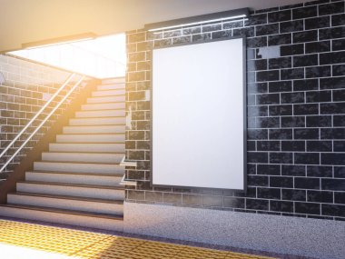 Mock up poster media template ads display in Subway station. 3d illustration, rendering