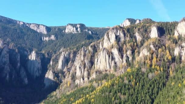 Podzimní rocky mountain, krásné barvy modřín stromu v říjnu, pohoří Karpat