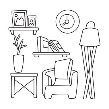 furniture set, interior decoration hand drawn line design theme