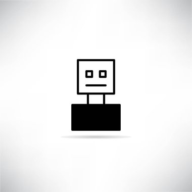 Robot icon with shadow on gray background vector icon