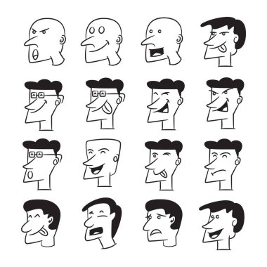 People face comic avatars vector set icon