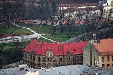 Lviv Panorama. Batı Ukrayna 'daki Lviv' in eski merkezindeki hava manzarası, soldaki Uspensky kilisesi ve sağdaki Dominik kilisesi ve belediye binası..