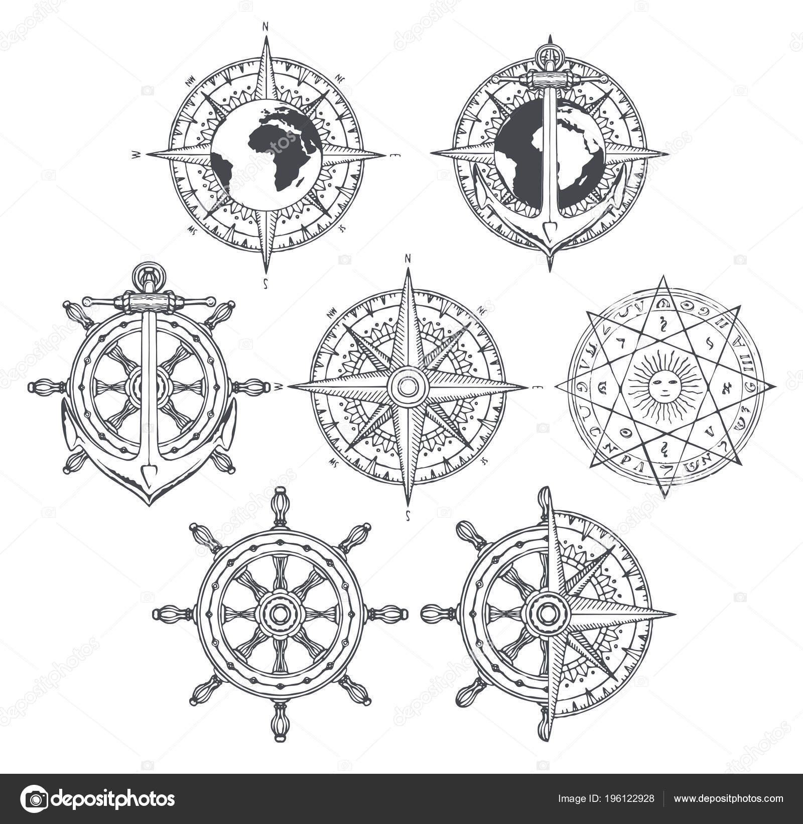 Vecteur Ensemble Des Emblemes Nautiques Rose Des Vents Ancre Navire