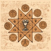 Fotografie Vector banner on the theme of mysticism, magic, religion and the occultism. Hand drawn illustration of a Grail and other esoteric and masonic symbols on the background of an old illegible manuscript