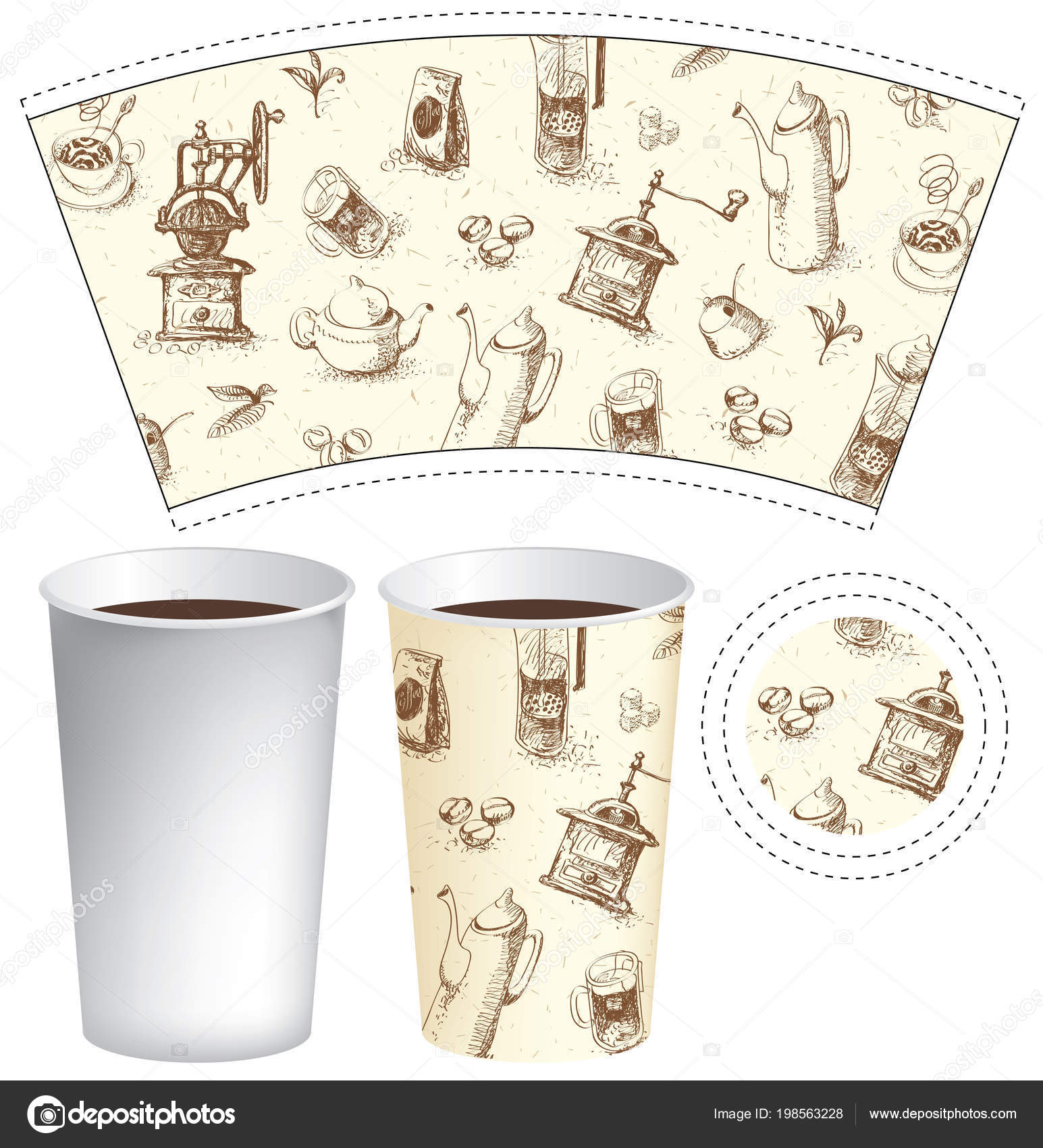 Vector Paper Cup Template For Hot Drinks With Drawings Of Teapots Cups Coffee Grinders And Other Doodles On Tea Theme In Retro Style