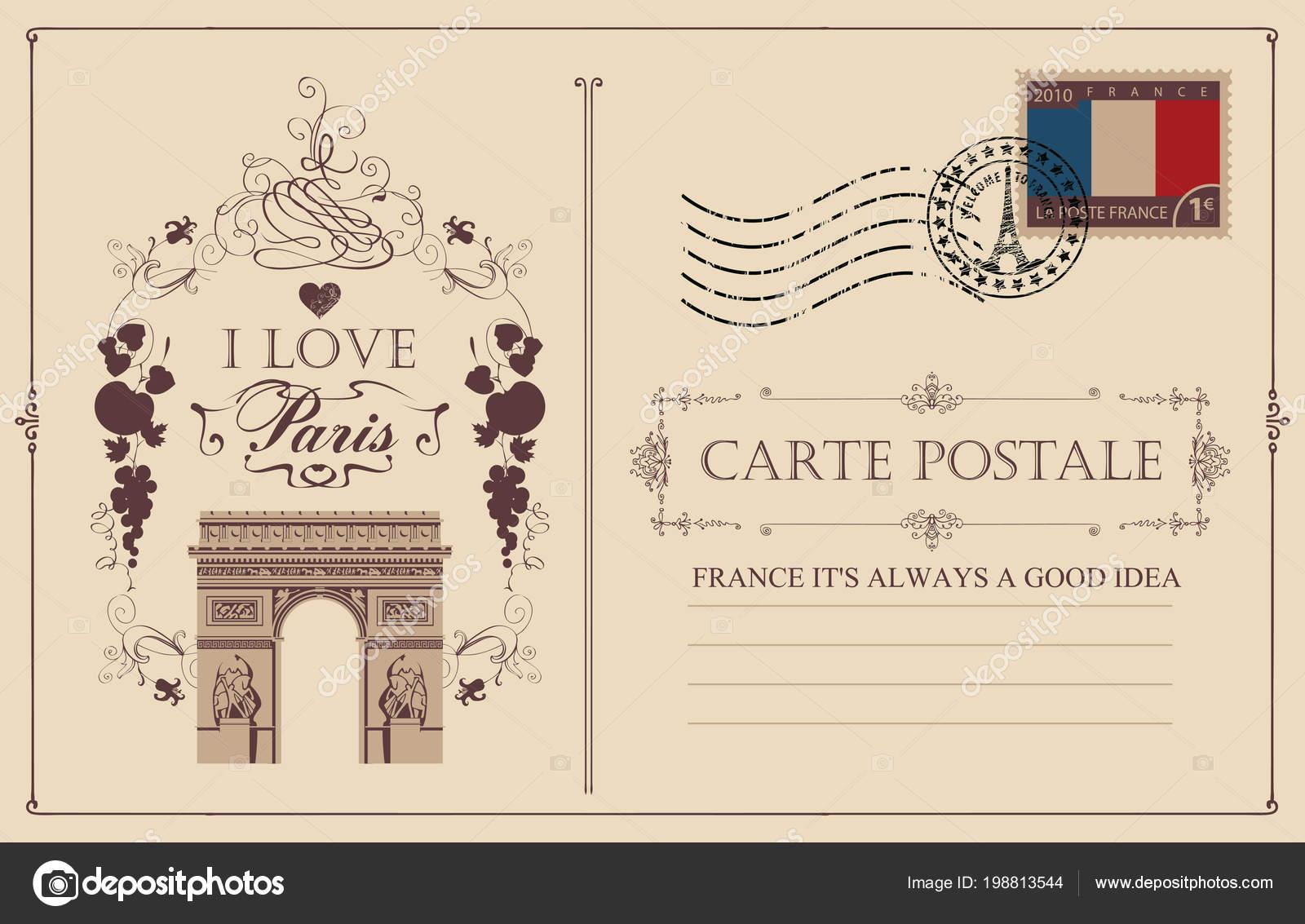 retro postcard famous triumphal arch paris france vector postcard vintage —  stock vector