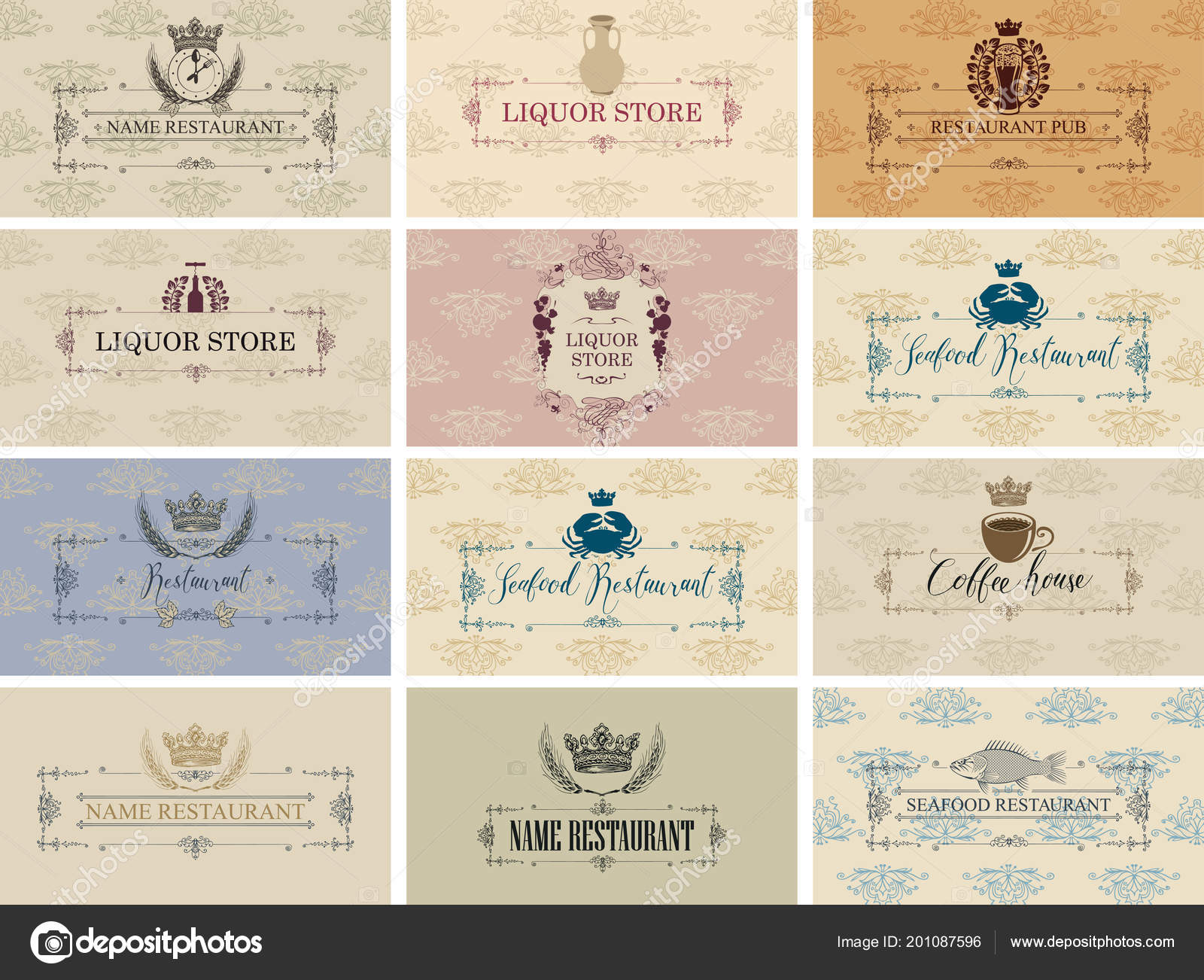 Vector set business cards theme food drink restaurant seafood vector set of business cards on the theme of food and drink for restaurant seafood restaurant coffee house liquor store and pub in baroque style on colourmoves