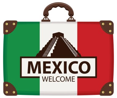 Vector travel banner with Suitcase with the flag of Mexico. The teotihuacan pyramids in Mexico, North America. Ancient stepped pyramids with temples on top. Mesoamerican architectural landmark