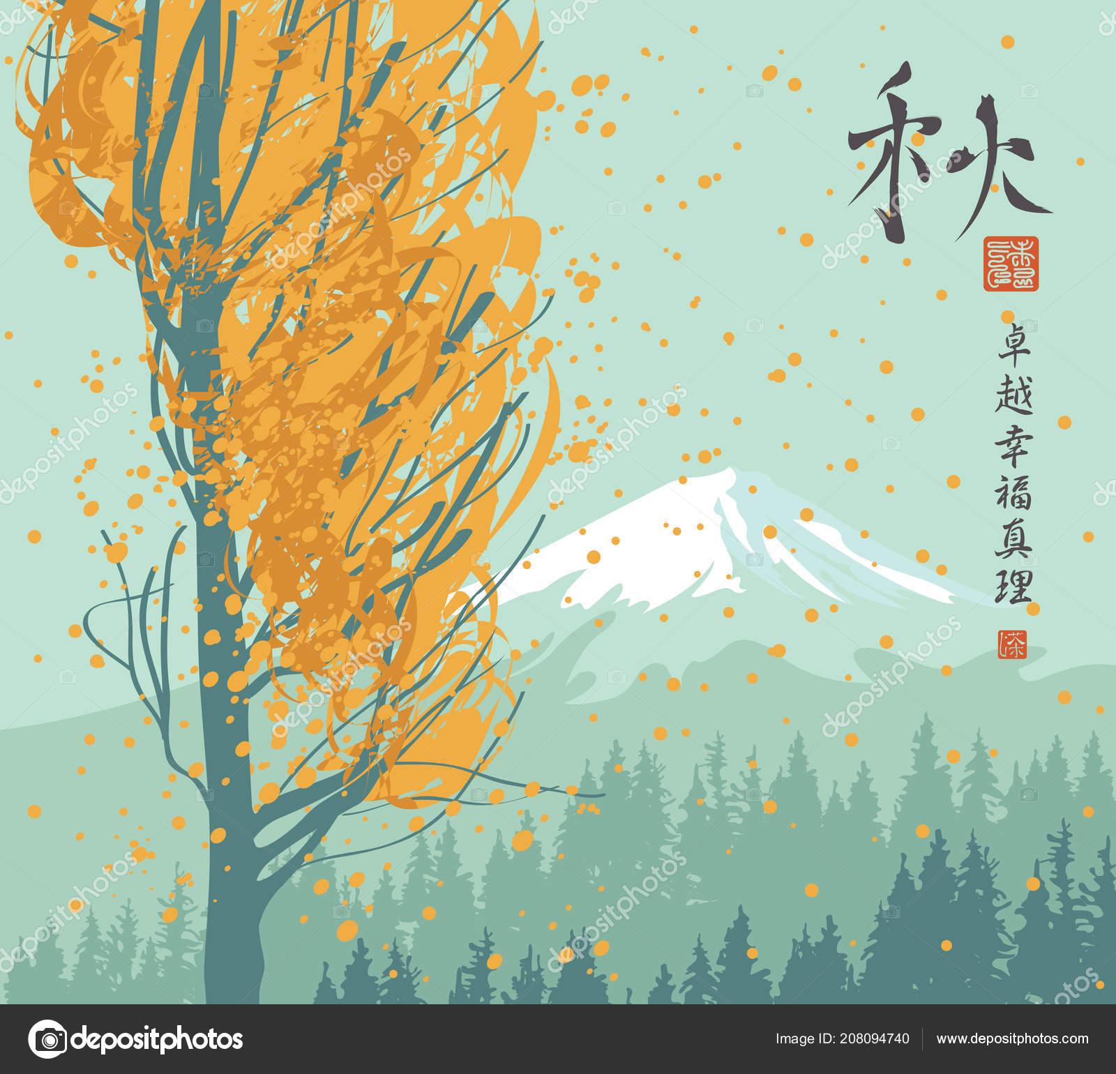 vector automne paysage avec arbre jauni sur fond sapins centenaires