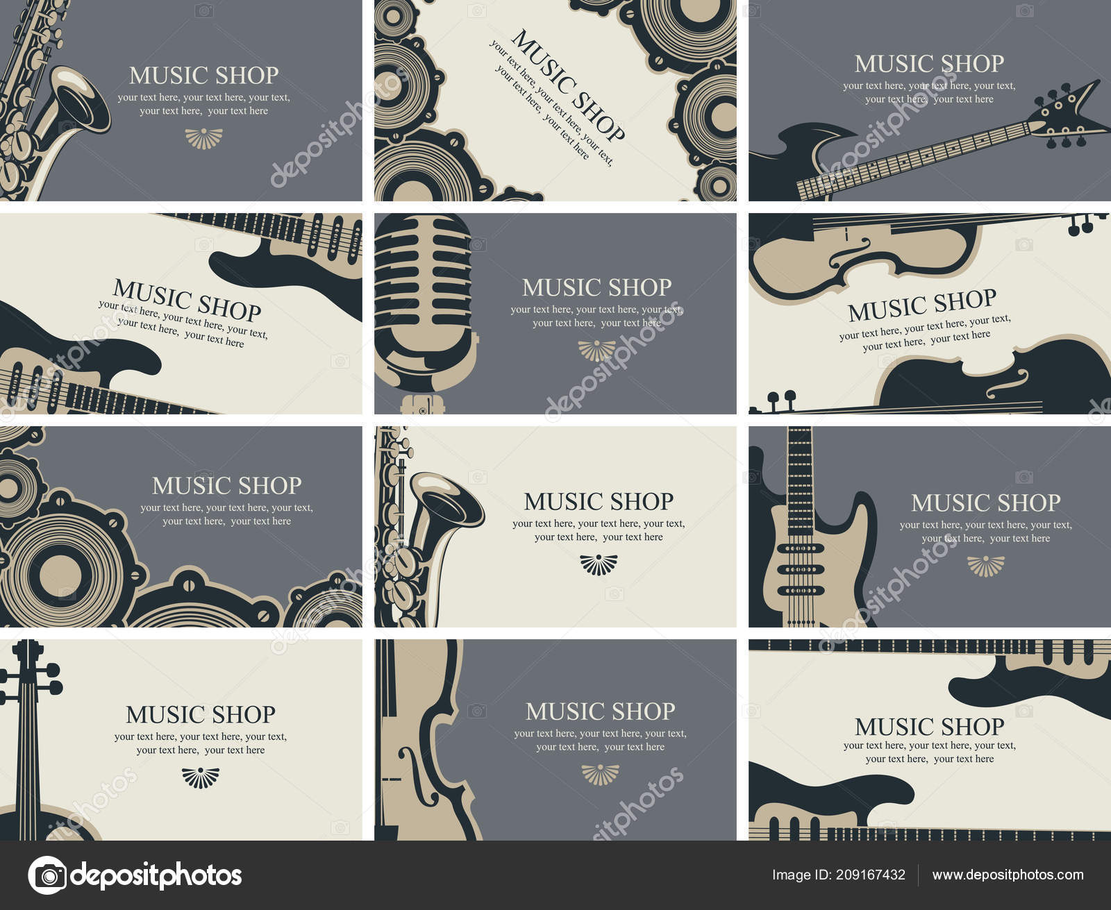 Vector Set Twelve Horizontal Business Cards Music Shop Musical