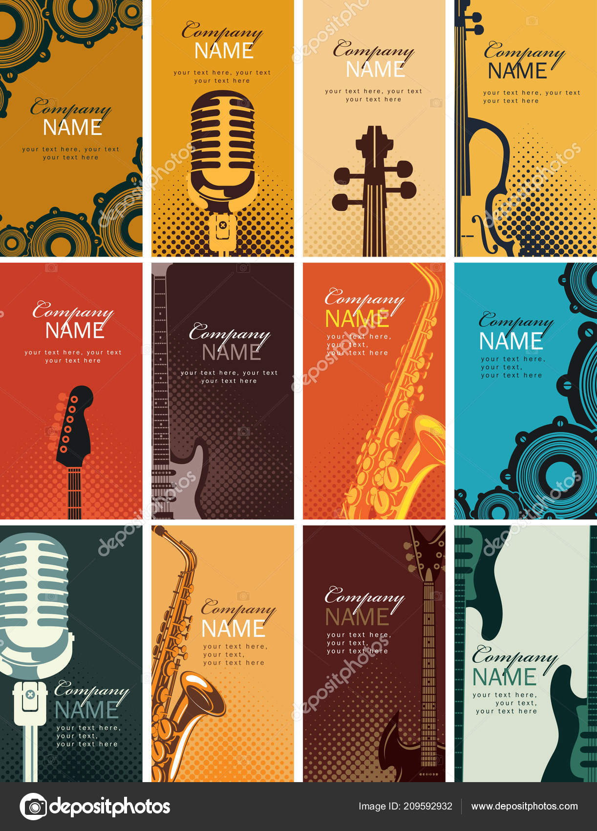 Vector Set Twelve Vertical Business Cards Musical Instruments Other