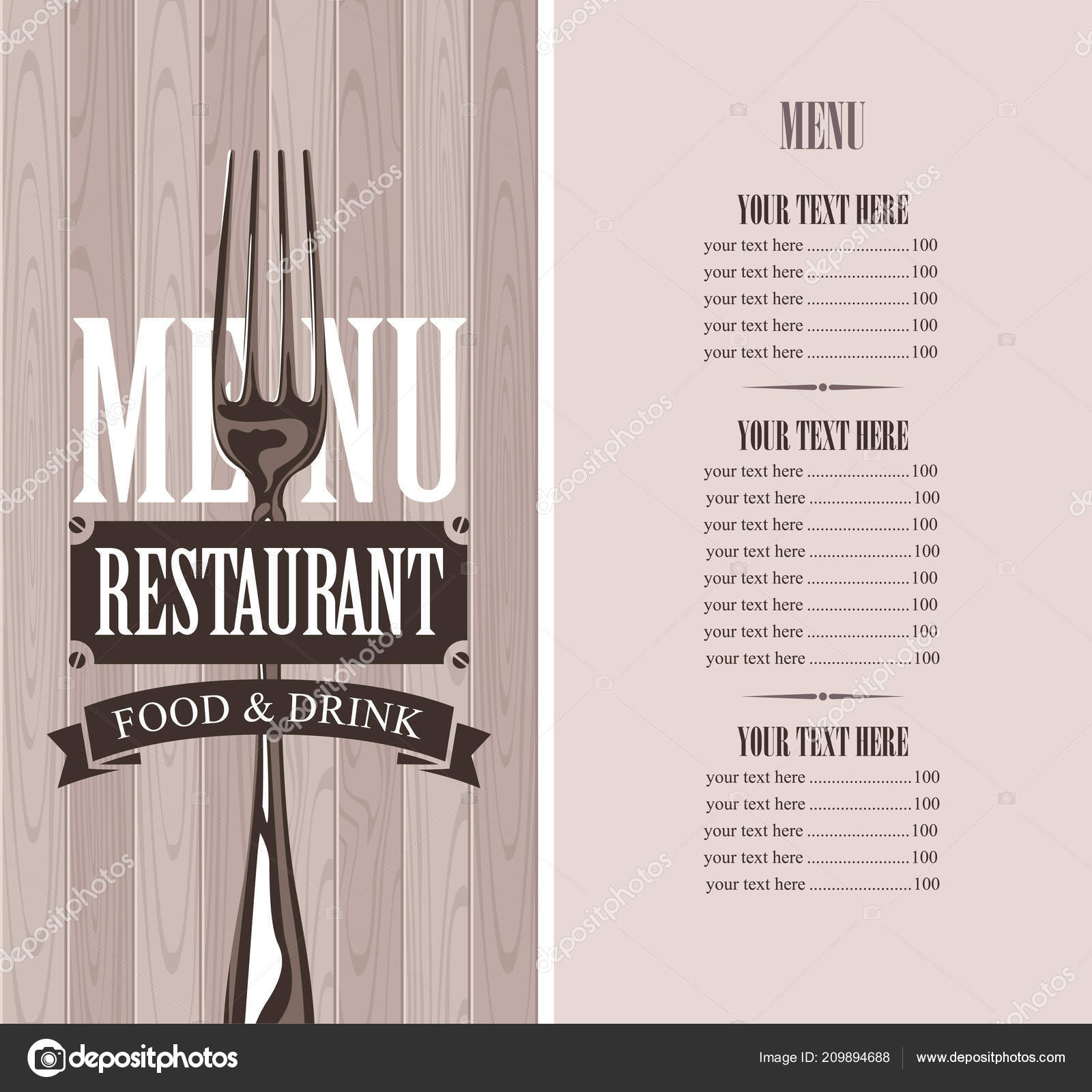 Vector Template Menu Restaurant Price List Realistic Fork Wooden Background Stock Vector C Paseven 209894688