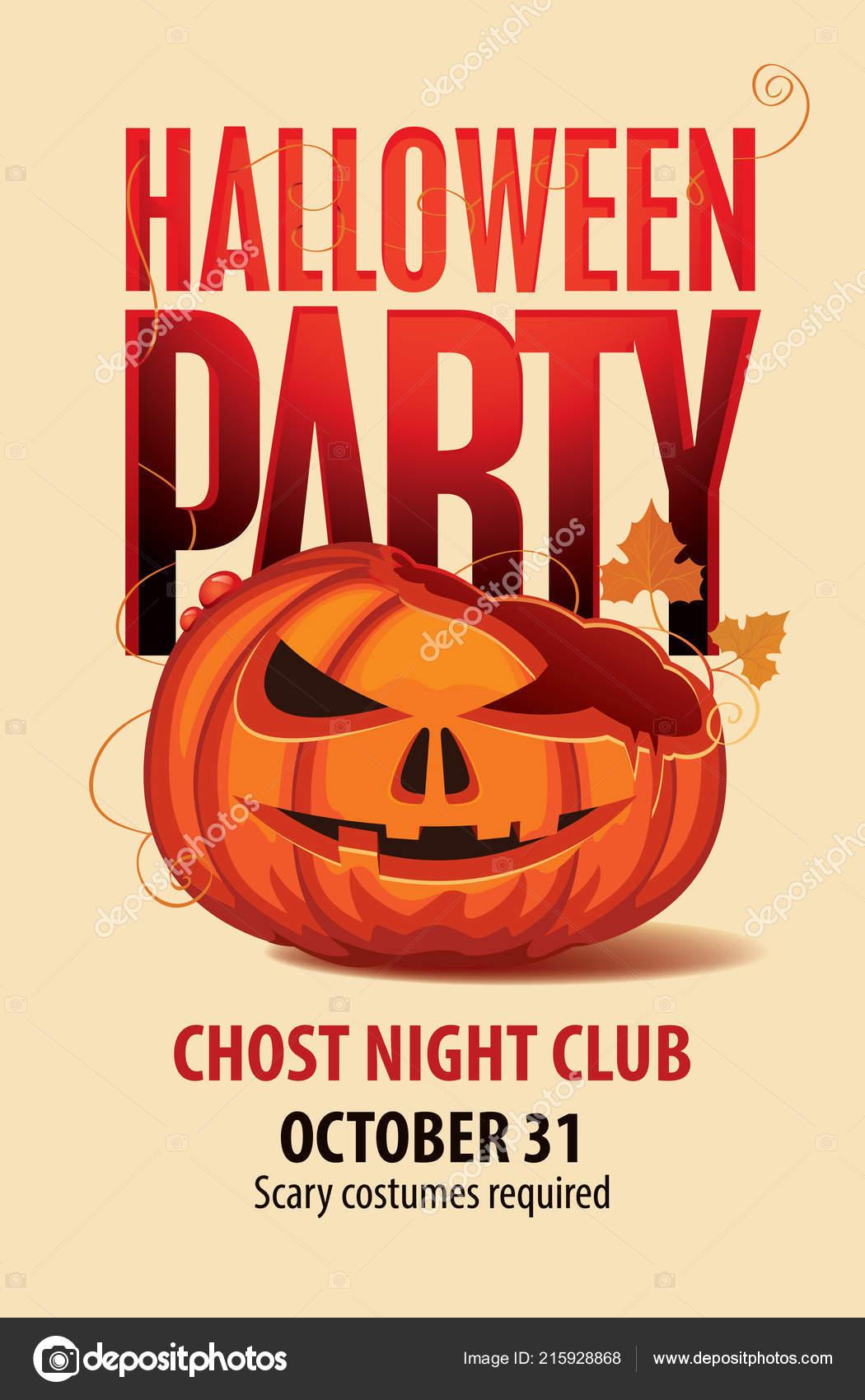 vector halloween banner inscription broken pumpkins head flyer