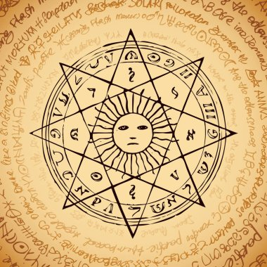 Illustration of the sun in an octagonal star with magical inscriptions and symbols on the beige background. Vector banner with old manuscript in retro style