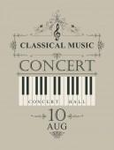 Vektor plakát a koncert zongora billentyűk retro stílus, a világos háttér zene