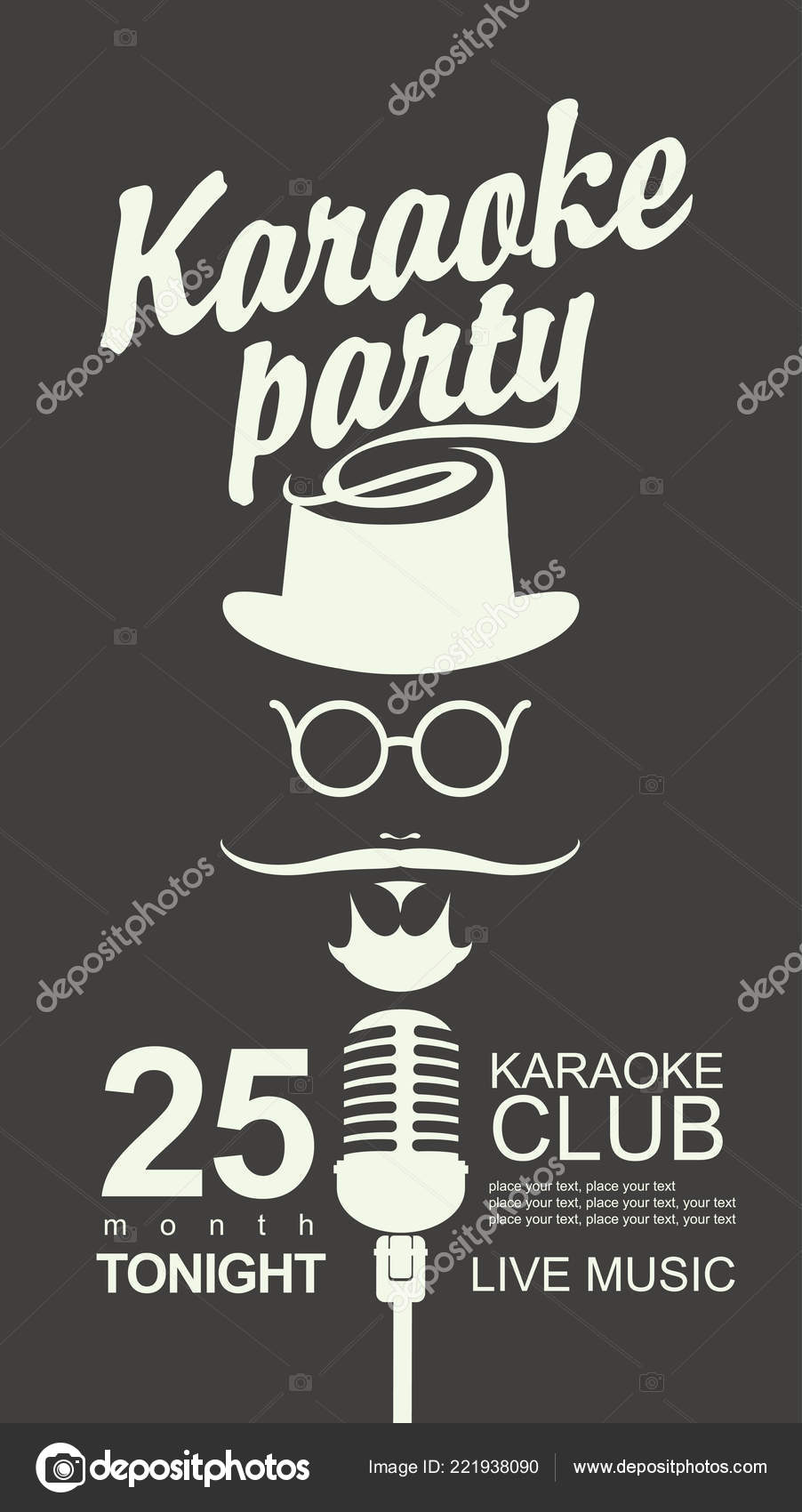 3b572f5cab6 Vector banner for karaoke club with place for text. Man face with a mustache  and wearing a hat and glasses with a microphone and an inscription karaoke  ...