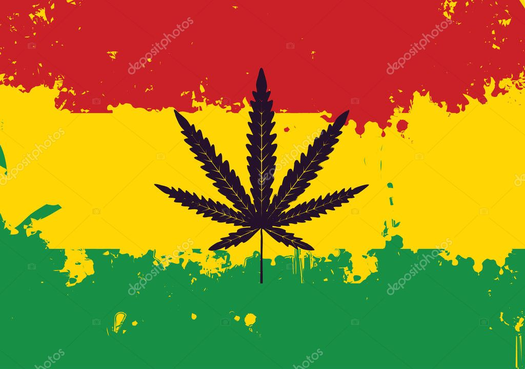 Vector banner for legalize marijuana with hemp leaf on abstract background of Rastafarian flag in grunge style. Natural product made from organic hemp. Smoking weed. Rasta flag