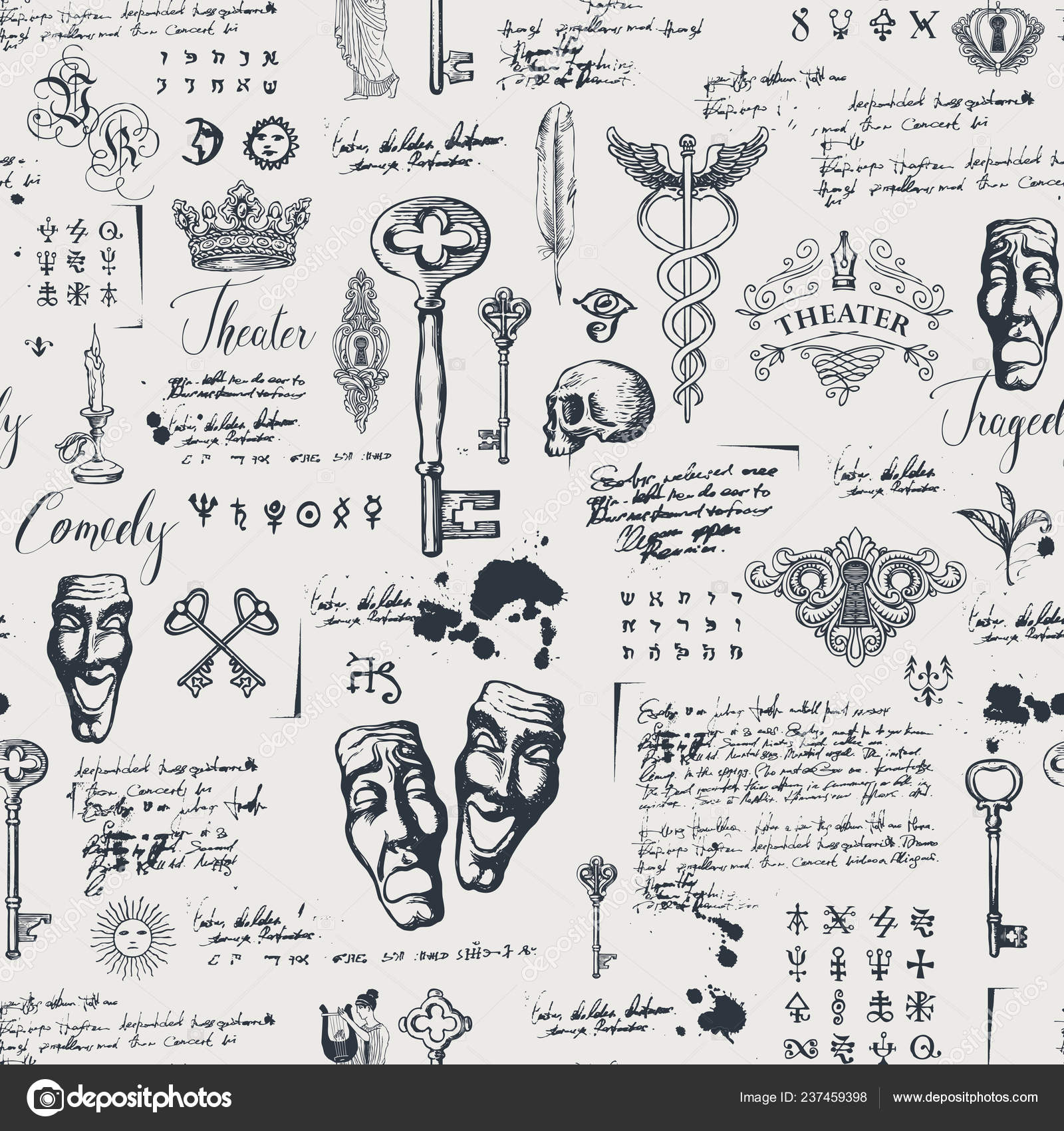 Vector Seamless Pattern Theme Theater Drama Drawings