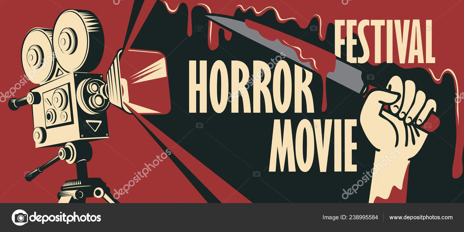 Vector Banner Festival Horror Movie Illustration Old Film Projector