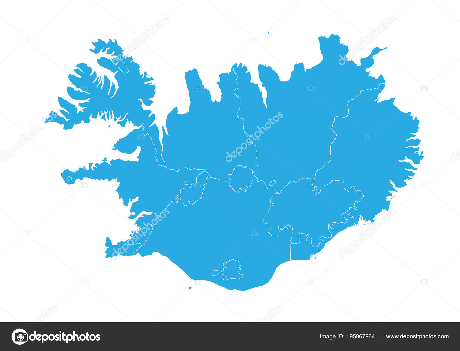 Map Iceland High Detailed Vector Map Iceland — Stock Vector ...