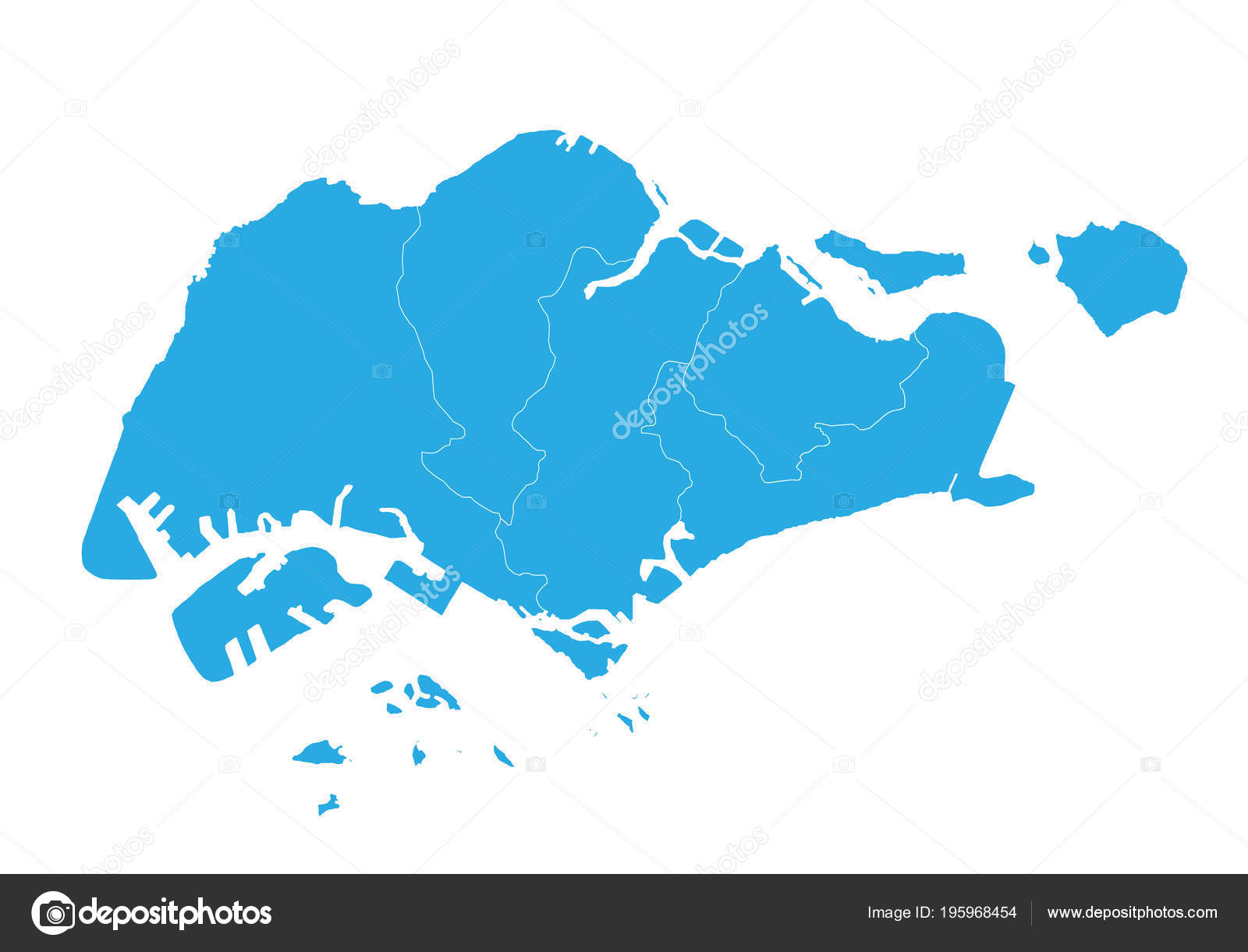 Map Singapore High Detailed Vector Map Singapore — Stock Vector ...