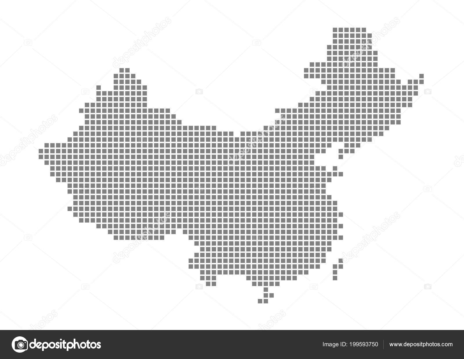 Pixel Map China Vector Dotted Map China Isolated White Background ...