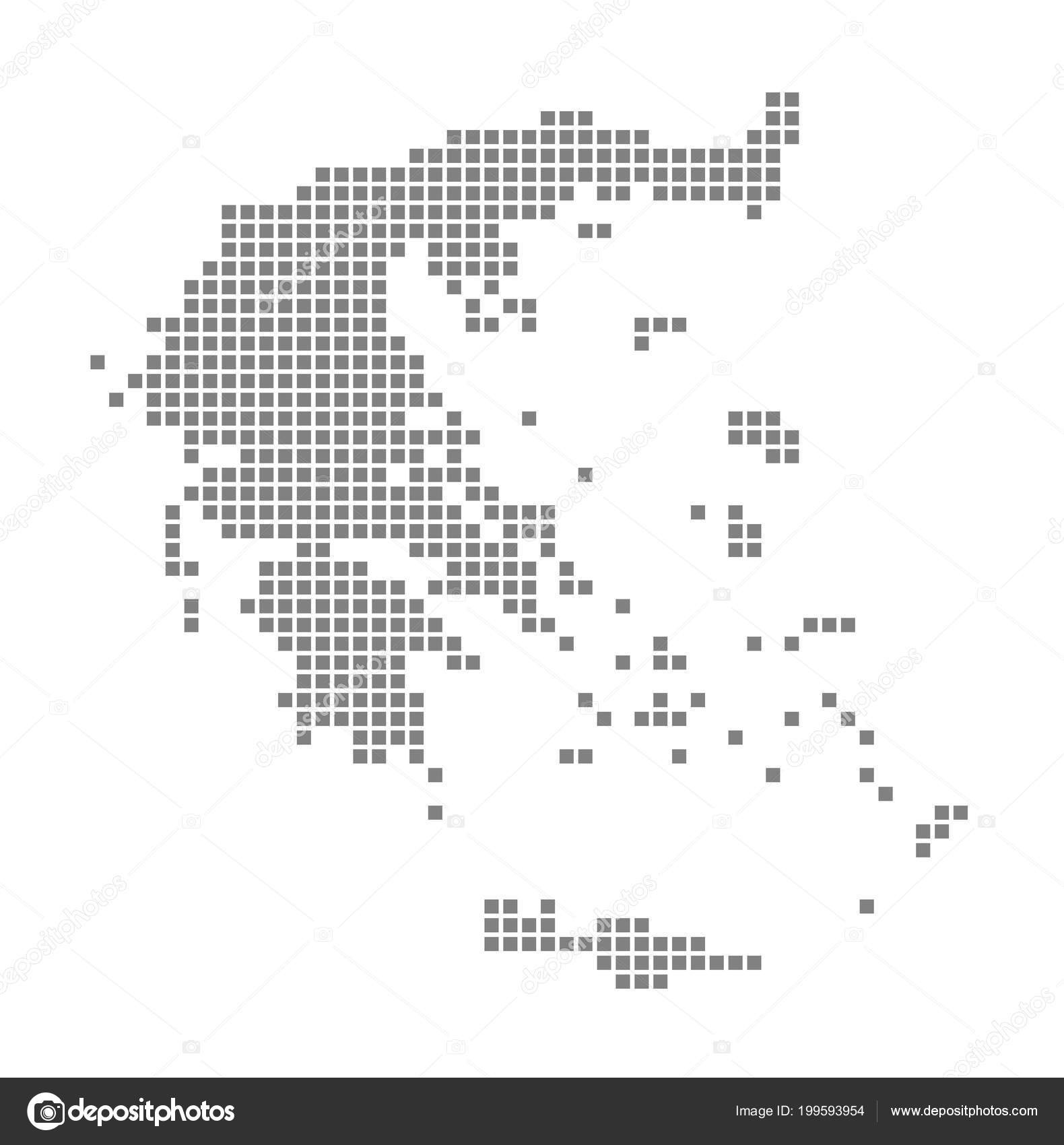 Pixel Map Greece Vector Dotted Map Greece Isolated White ...