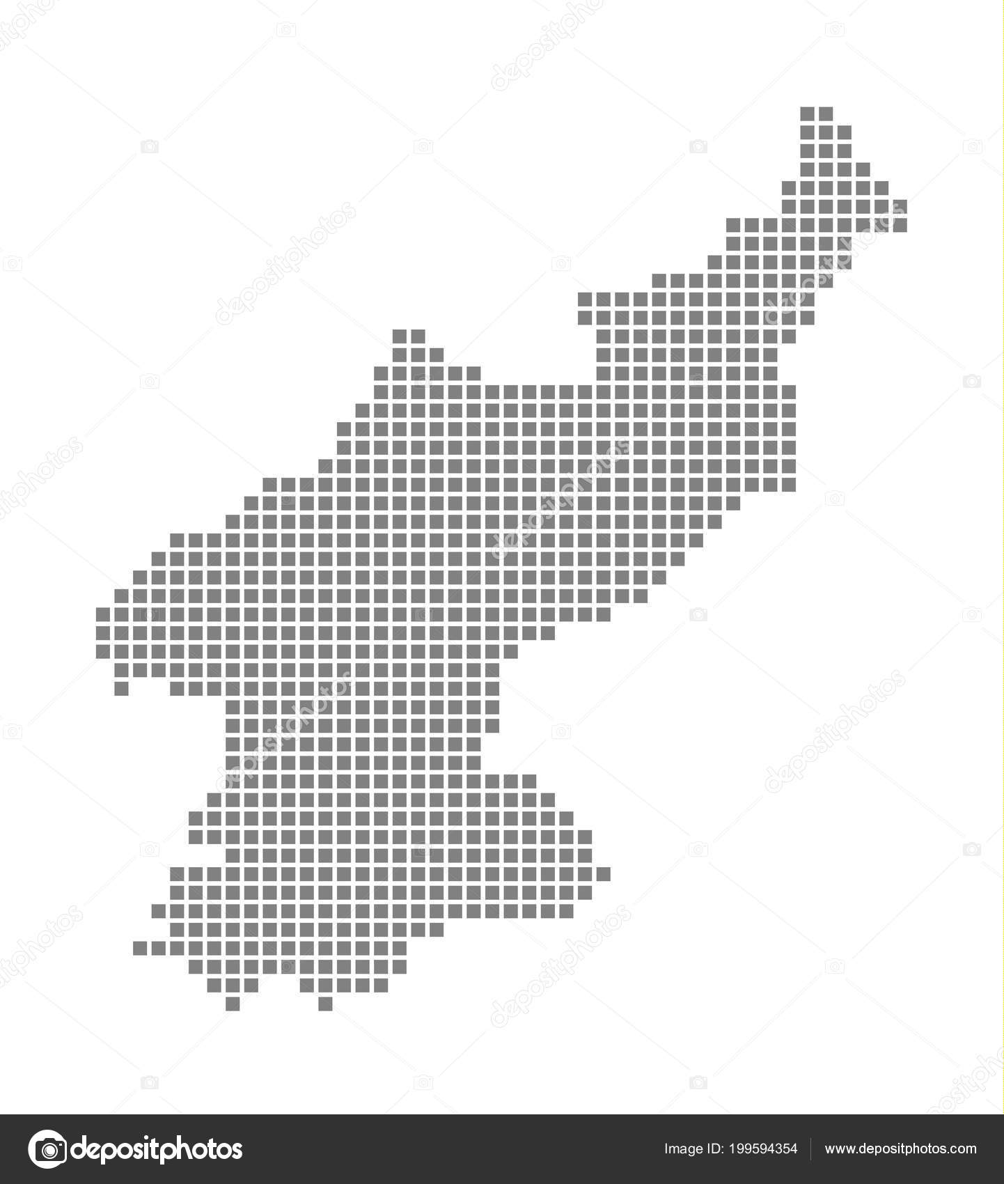 Pixel Map North Korea Vector Dotted Map North Korea Isolated