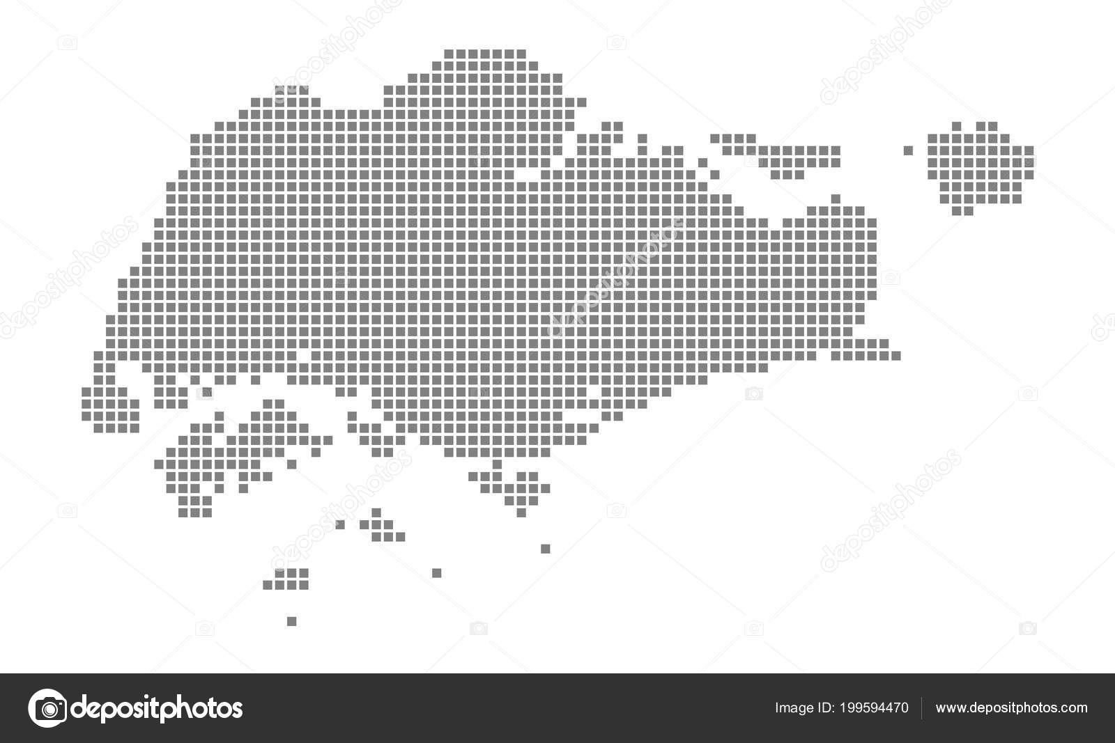 Pixel Map Singapore Vector Dotted Map Singapore Isolated White ...