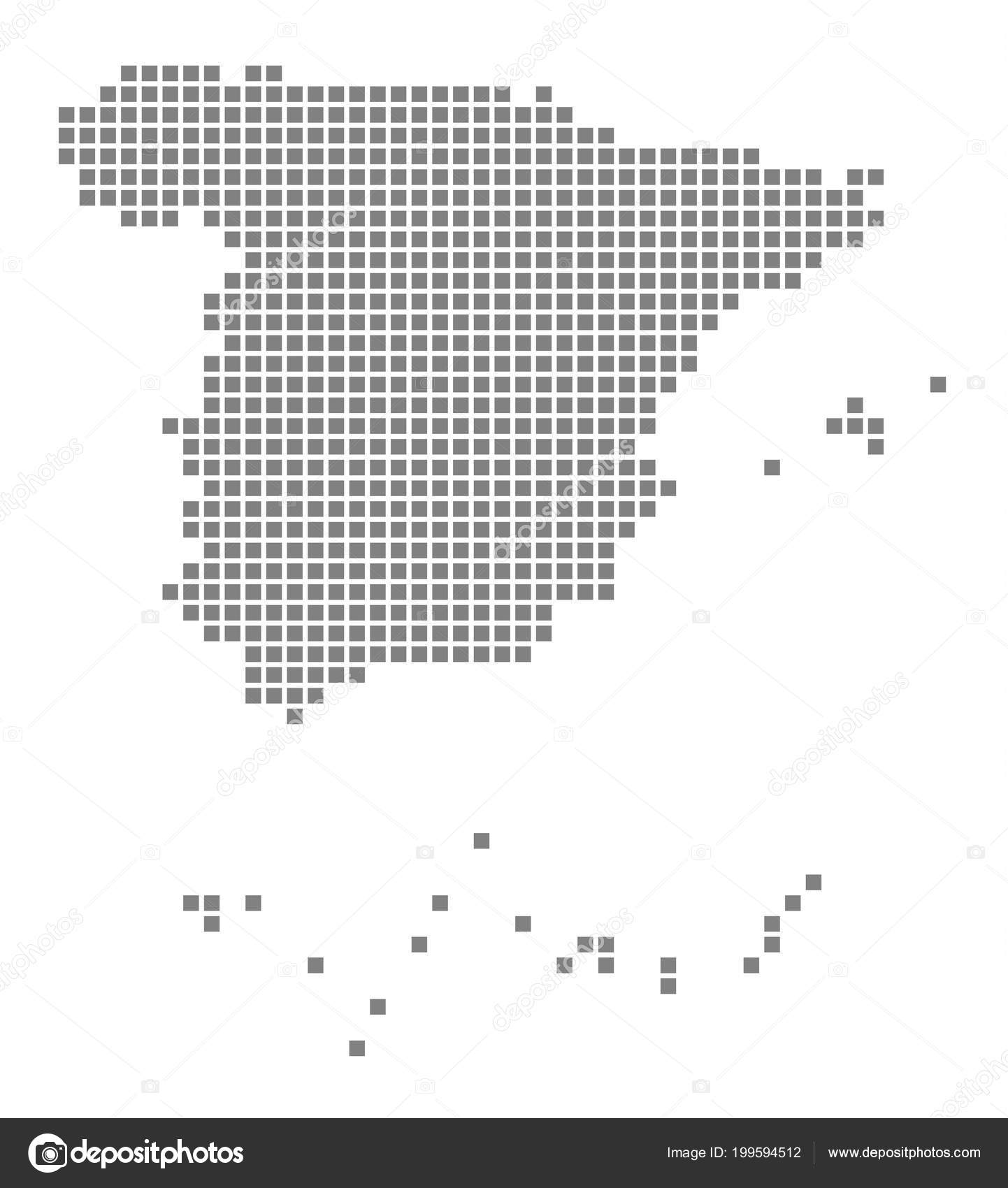 Pixel Map Spain Vector Dotted Map Spain Isolated White Background ...