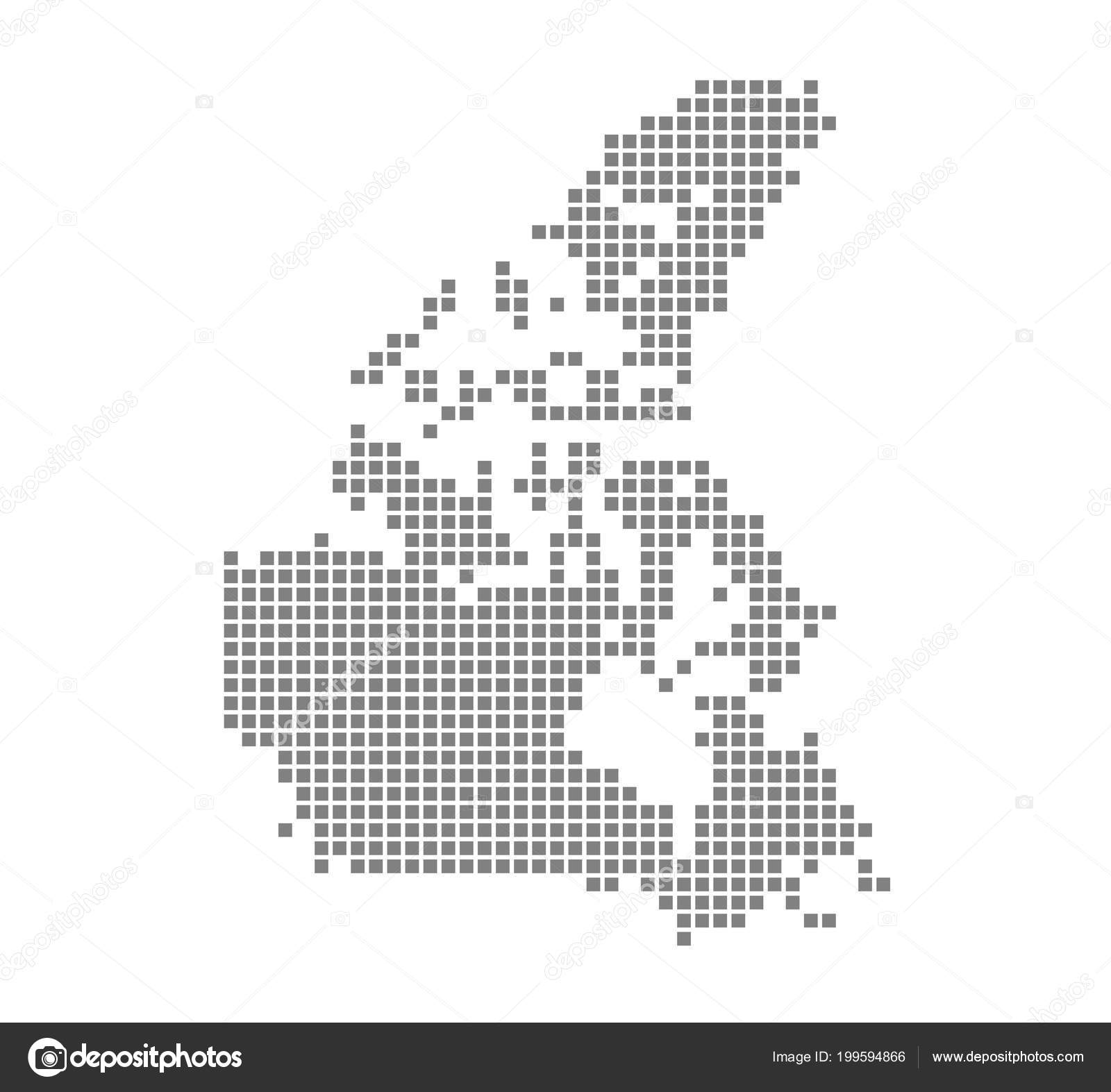 Pixel Map Canada Vector Dotted Map Canada Isolated White Background