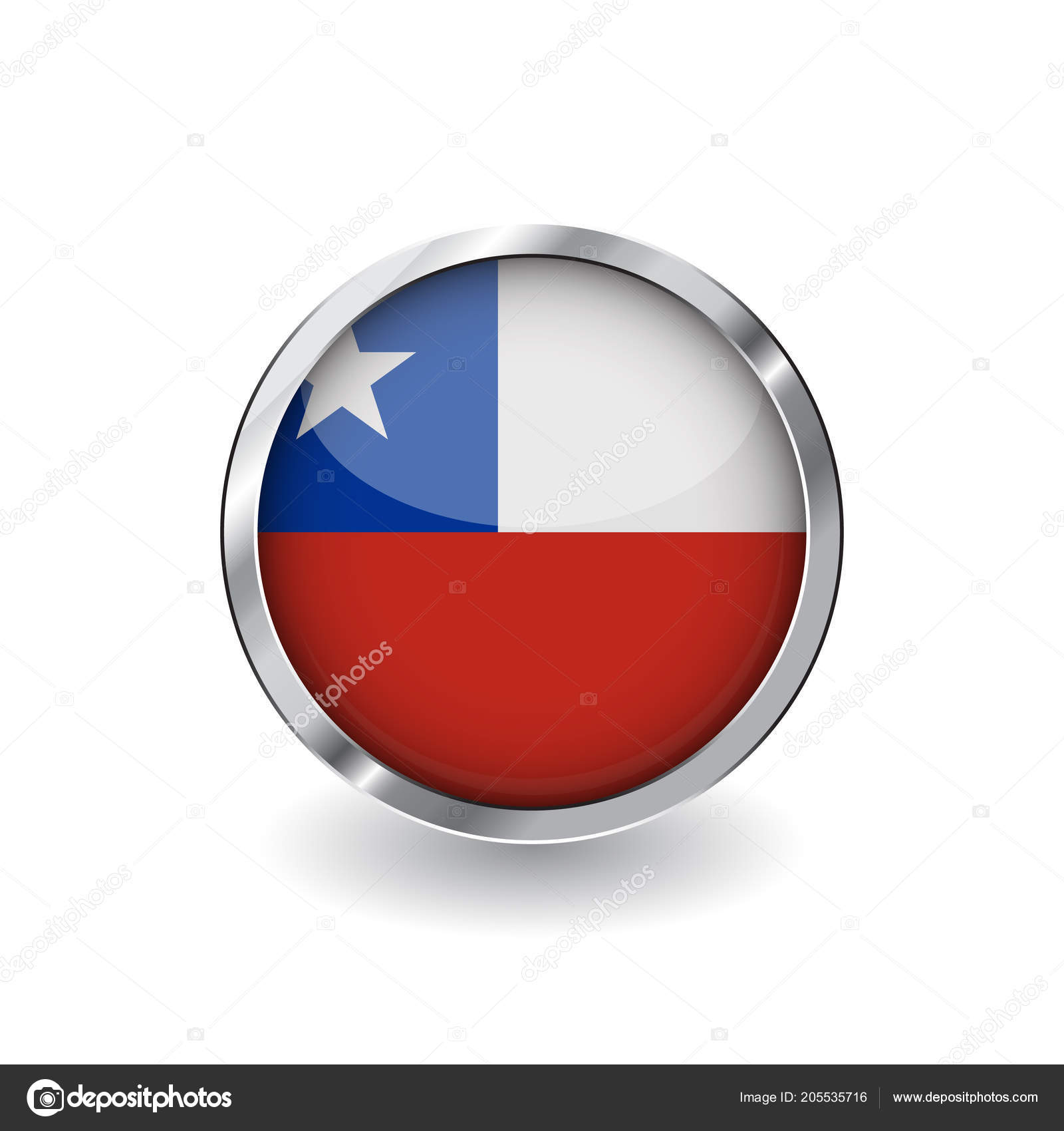 Flag Chile Button Metal Frame Shadow Chile Flag Vector Icon — Stock ...