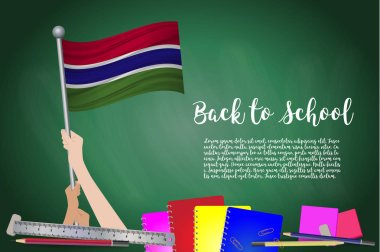 Vector flag of Gambia on Black chalkboard background. Education Background with Hands Holding Up of Gambia flag. Back to school with pencils, books, school items learning and childhood concept.
