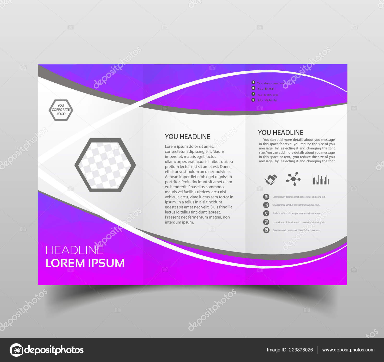 Vector Modern Tri Fold Brochure Design Template Tech