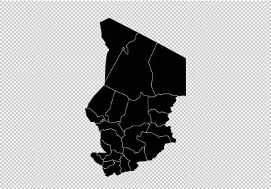 chad map - High detailed Black map with counties/regions/states