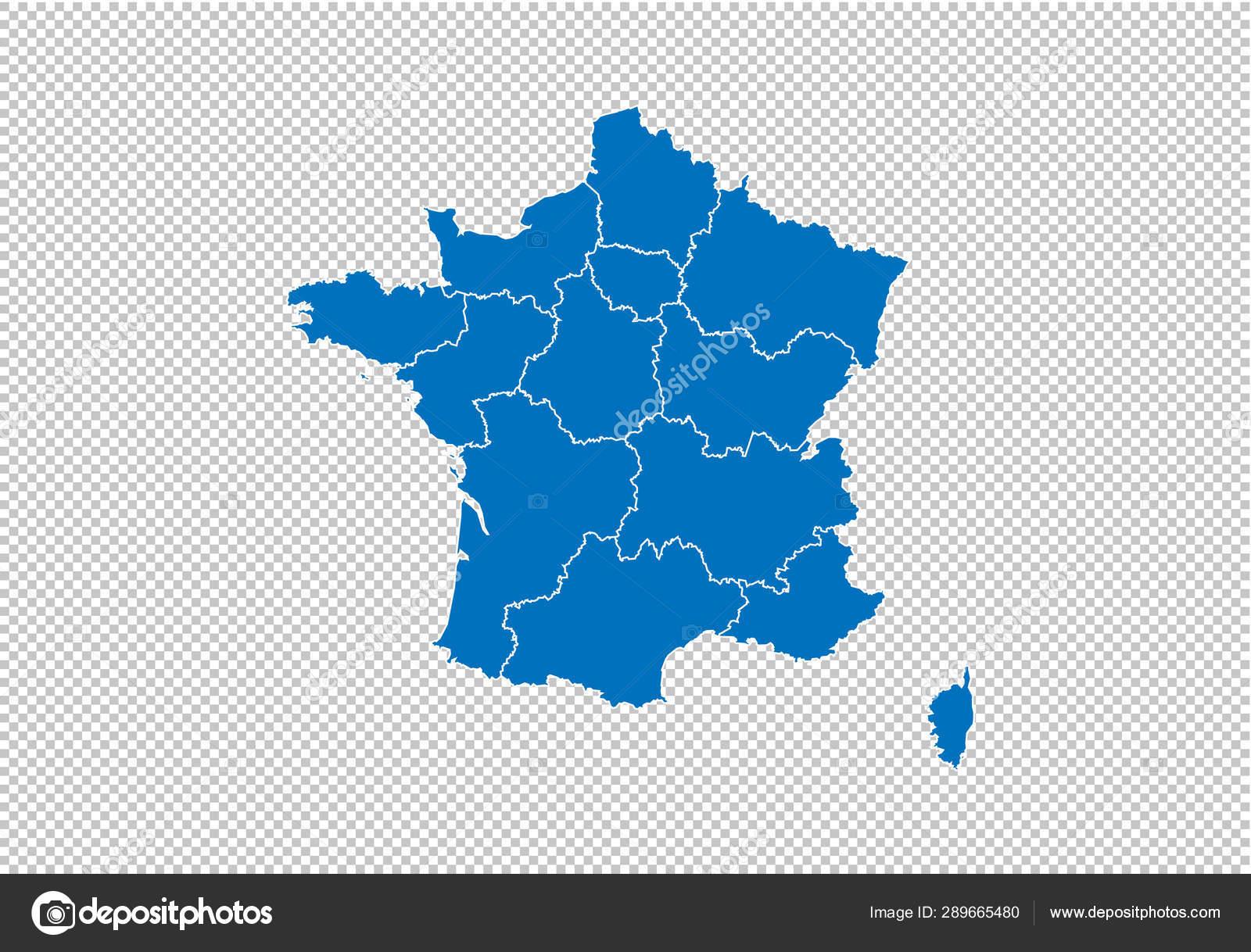 France map - Hohe detaillierte blaue Karte mit Landkreisen ...