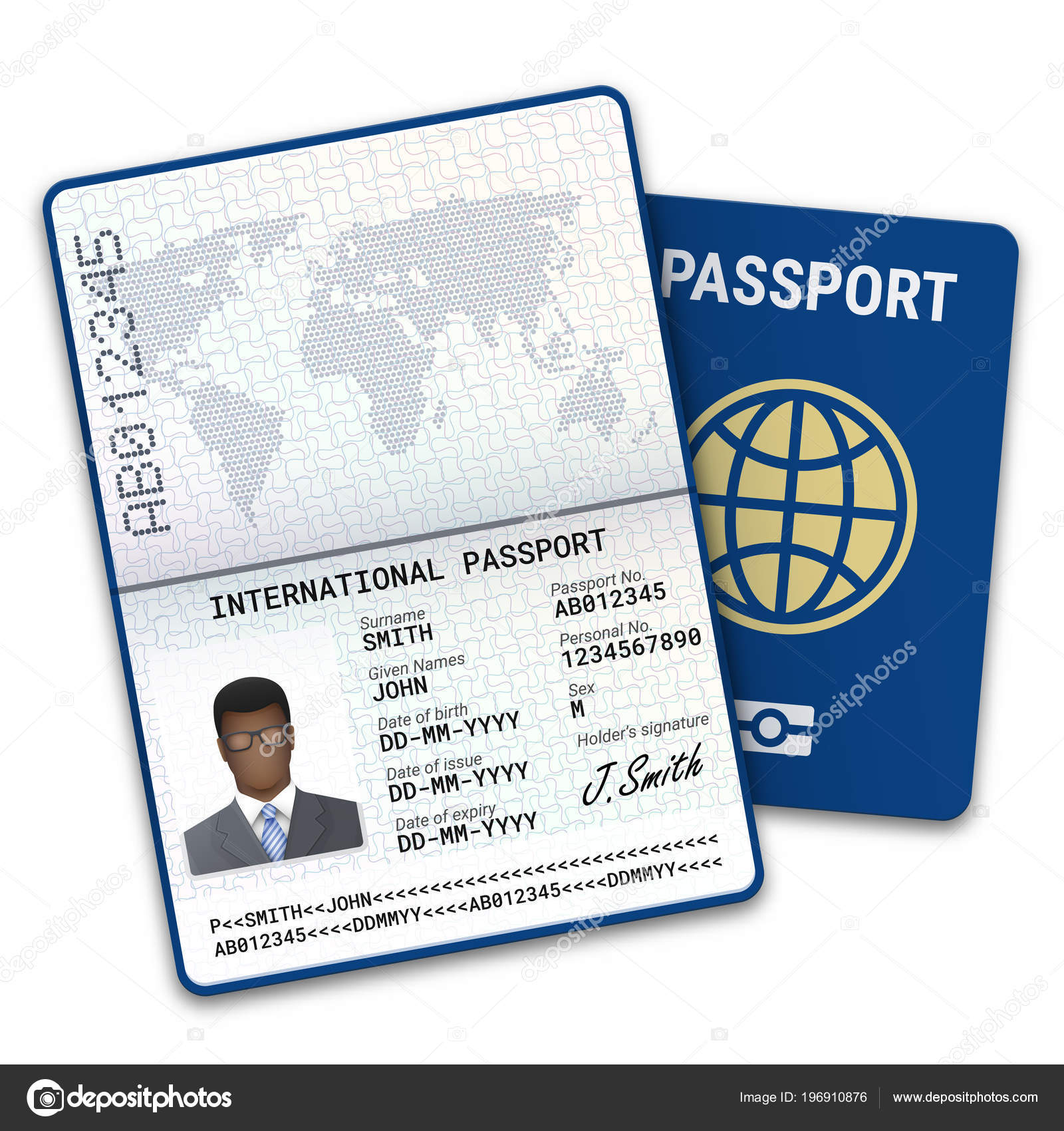 Plantilla Pasaporte Internacional Del Hombre Afro Con Datos ...