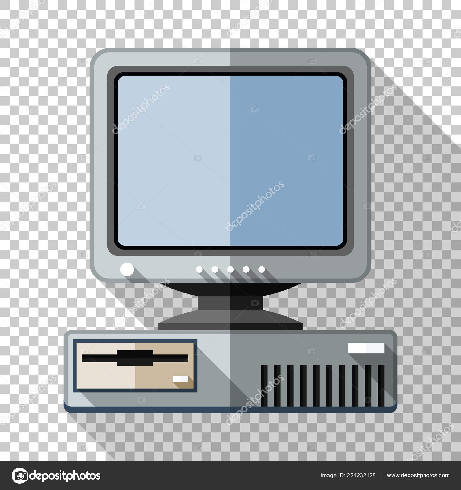 Retro computer with CRT monitor icon in flat style with long shadow